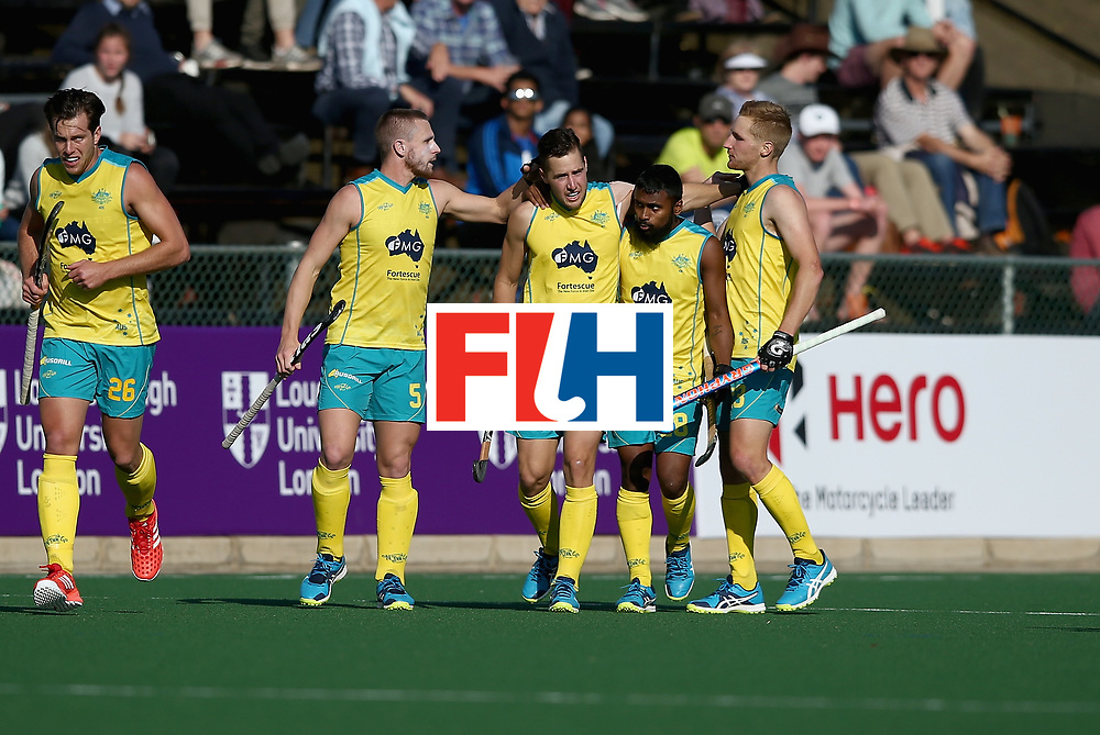 JOHANNESBURG, SOUTH AFRICA - JULY 11: Josh Pollard of Australia celebrates scoring their teams second goal with teammates during day 2 of the FIH Hockey World League Semi Finals Pool A match between Australia and France at Wits University on July 11, 2017 in Johannesburg, South Africa. (Photo by Jan Kruger/Getty Images for FIH)