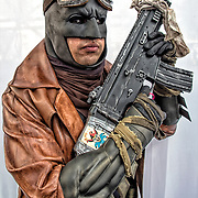 Cosplay attendee in his Armored Batman costume at the New York Comic Con Convention.<br />