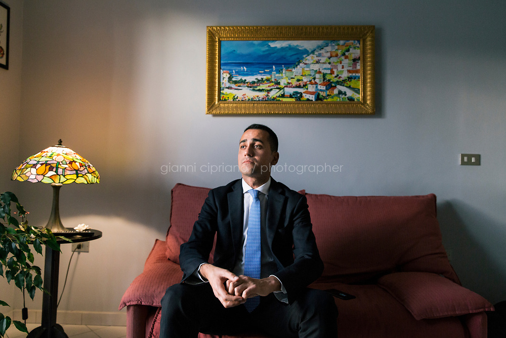 POMIGLIANO D'ARCO, ITALY - 11 FEBRUARY 2018: Luigi Di Maio (31), running for Prime Minister of Italy with the Five Stars Movement (M5S, Movimento 5 Stelle) is seen here during an interview at his parents' apartment in Pomigliano D'Arco, Italy, on  February 11th 2018.<br /> <br /> The 2018 Italian general election is due to be held on 4 March 2018 after the Italian Parliament was dissolved by President Sergio Mattarella on 28 December 2017.<br /> Voters will elect the 630 members of the Chamber of Deputies and the 315 elective members of the Senate of the Republic for the 18th legislature of the Republic of Italy, since 1948.