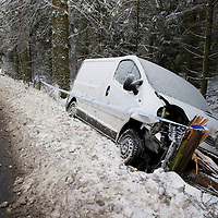 Snow and Ice In Perthshire....30.11.10<br /> The snow and ice on the A93 Perth to Blairgowrie road at Meikleour proved too much for this white van as it lies in a ditch after colliding with a tree<br /> Picture by Graeme Hart.<br /> Copyright Perthshire Picture Agency<br /> Tel: 01738 623350  Mobile: 07990 594431