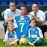 Chris Millar Testimonial…05.07.18<br />Former St Johnstone player Chris Millar pictured ahead of his testimonial game against Aberdeen this weekend with his daughters Sophia (6) and Ellie (11) showing off the testimonial kit with sponsors Duncan Gibb (left) from Graham Fire Protection and Malcolm Fyfe from MKM<br />see story by Gordon Bannerman 07729 865788<br />Picture by Graeme Hart.<br />Copyright Perthshire Picture Agency<br />Tel: 01738 623350  Mobile: 07990 594431