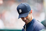 May 22, 2014; Detroit, MI, USA; Detroit Tigers manager Brad Ausmus (7) in the dugout against the Texas Rangers at Comerica Park. Mandatory Credit: Rick Osentoski-USA TODAY Sports