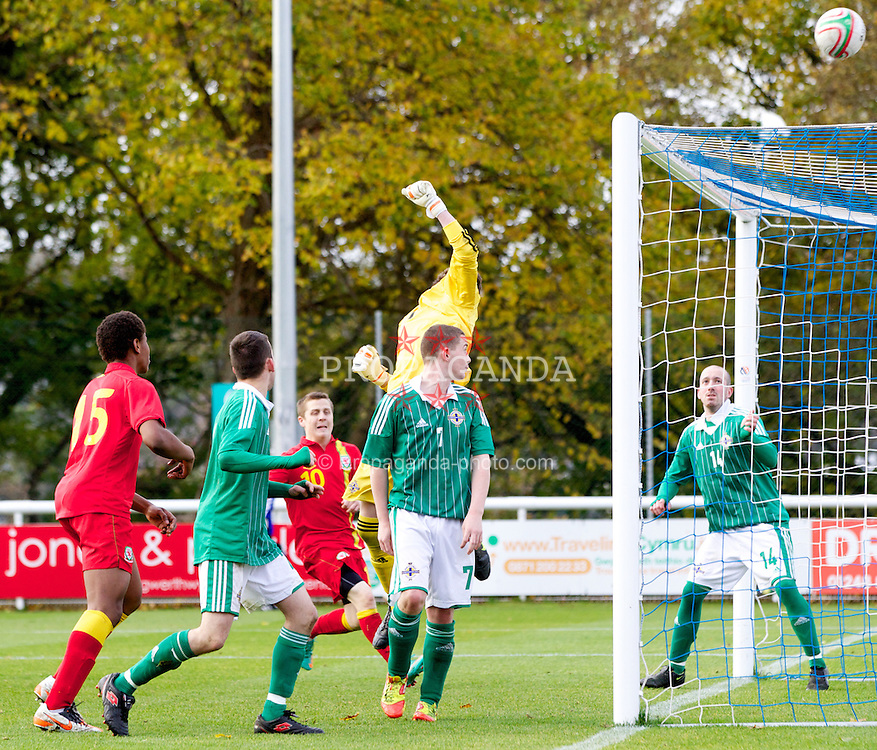 BANGOR, WALES - Thursday, November 8, 2012: Northern Ireland's goalkeeper Darren Hayes saves Wales' best attempt on from a corner-kick during the International Learning Disability Fixture at the Nantporth Stadium. (Pic by Vegard Grott/Propaganda)