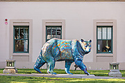 A painted bear, part of the Bears on Parade in front of the Old City Hall at Peratrovich Park in downtown Anchorage, Alaska.