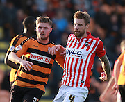 Barnet defender Elliott Johnson stays tight to Exeter City midfielder David Noble during the Sky Bet League 2 match between Barnet and Exeter City at The Hive Stadium, London, England on 31 October 2015. Photo by Bennett Dean.
