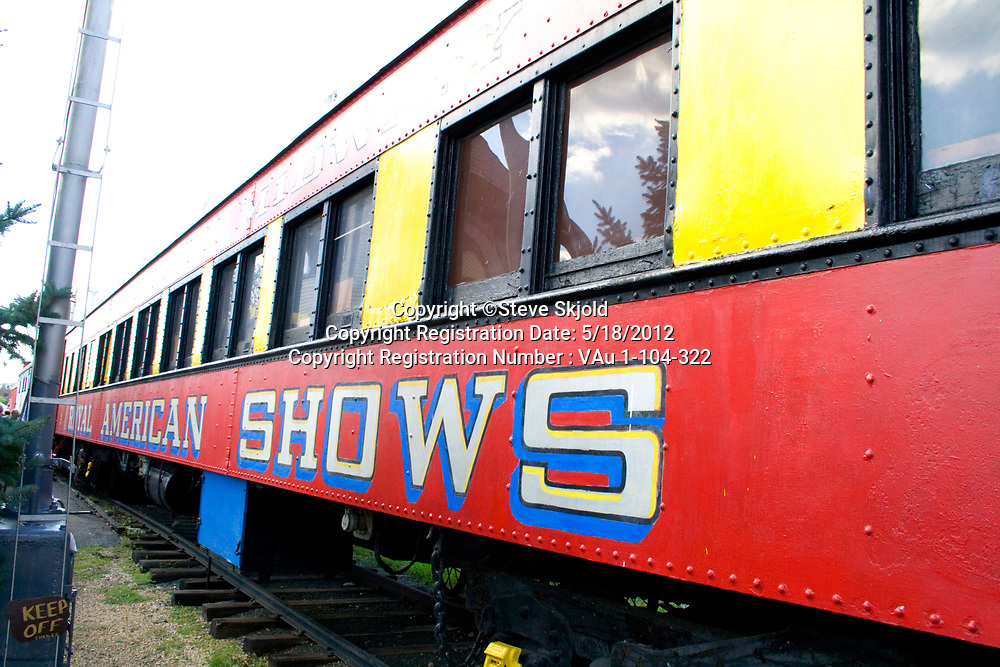 Royal American Shows carnival railroad car parked at a rail siding. Minnesota State Fair St Paul Minnesota MN USA