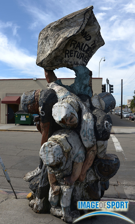 Oct 6, 2013; Oakland, CA, USA; General view of Oakland Raiders sculpture at the corner of 5th Street and Madison Street erected upon the Raiders return to Oakland from Los Angeles in 1995.