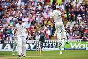 John Bairstow is dismissed  Mitchell Johnson during the 3rd Investec Ashes Test match between England and Australia at Edgbaston, Birmingham, United Kingdom on 30 July 2015. Photo by Shane Healey.