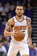 Oct 25, 2017; Phoenix, AZ, USA; Phoenix Suns guard Mike James (55) dribbles the ball up the court in the game against the Utah Jazz at Talking Stick Resort Arena. Mandatory Credit: Jennifer Stewart-USA TODAY Sports