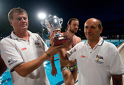 Duho Veselin, head coach of VK Rokava Koper, Rok Crnica and assistant coach Marino Cetin after the water polo match between ASD Vaterpolo Rokava Koper and AVK Triglav Kranj in 3rd Round of Final of Slovenian Water polo National Championship, on June 8, 2011 in Zusterna pool, Koper, Slovenia. Rokava Koper defeated Triglav Kranj 12-6 and became Slovenian Champion 2011. (Photo By Vid Ponikvar / Sportida.com)