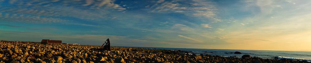 Panoramic view of the coastal strip at Hårr, Jæren.