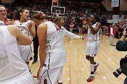 Dec 20, 2011; Stanford CA, USA;  Stanford Cardinal forward Nnemkadi Ogwumike (right) celebrates after the game against the Tennessee Lady Volunteers at Maples Pavilion.  Stanford defeated Tennessee 97-80. Mandatory Credit: Jason O. Watson-US PRESSWIRE