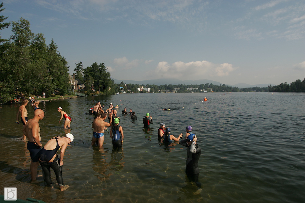 Athletes train and compete in the Lake Placid Ironman Triathlon. (Photo/Todd Bissonette - http://www.rtbphoto.com)