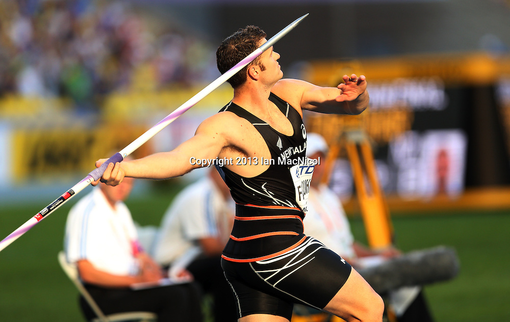 MOSCOW, RUSSIA - AUGUST 17:  Stuart Farquhar of New Zealand competes in the Final of the Javlin during Day Eight of the 14th IAAF World Athletics Championships Moscow 2013 at Luzhniki Stadium on August 17, 2013 in Moscow, Russia. (Photo by Ian MacNicol)
