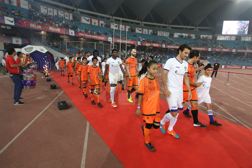 Players entring the field during match 12 of the Hero Indian Super League between The Delhi Dynamos FC and Chennaiyin FCheld at the Jawaharlal Nehru Stadium, Delhi, India on the 25th October 2014.<br /> <br /> Photo by:  Arjun Panwar/ ISL/ SPORTZPICS