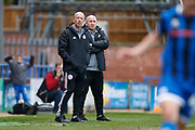 John Coleman Manager of Accrington and Jimmy Bell Assistant Manager of Accrington during the EFL Sky Bet League 1 match between Rochdale and Accrington Stanley at the Crown Oil Arena, Rochdale, England on 12 October 2019.