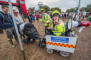Achilds buggy is given a ticket in the circus field - The 2017 Glastonbury Festival, Worthy Farm. Glastonbury, 24 June 2017