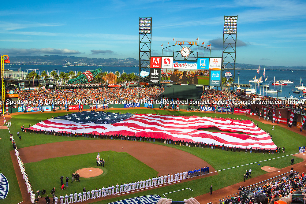 October 24, 2014: The opening ceremony with a general view of the stadium and the San Francisco Bay in the background, before game three of the World Series between the San Francisco Giants and the Kansas City Royals at AT&T Park in San Francisco, California, USA.