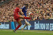 Nathaniel Clyne (Liverpool) controls the ball under pressure from Pedro (Chelsea) during the Barclays Premier League match between Liverpool and Chelsea at Anfield, Liverpool, England on 11 May 2016. Photo by Mark P Doherty.