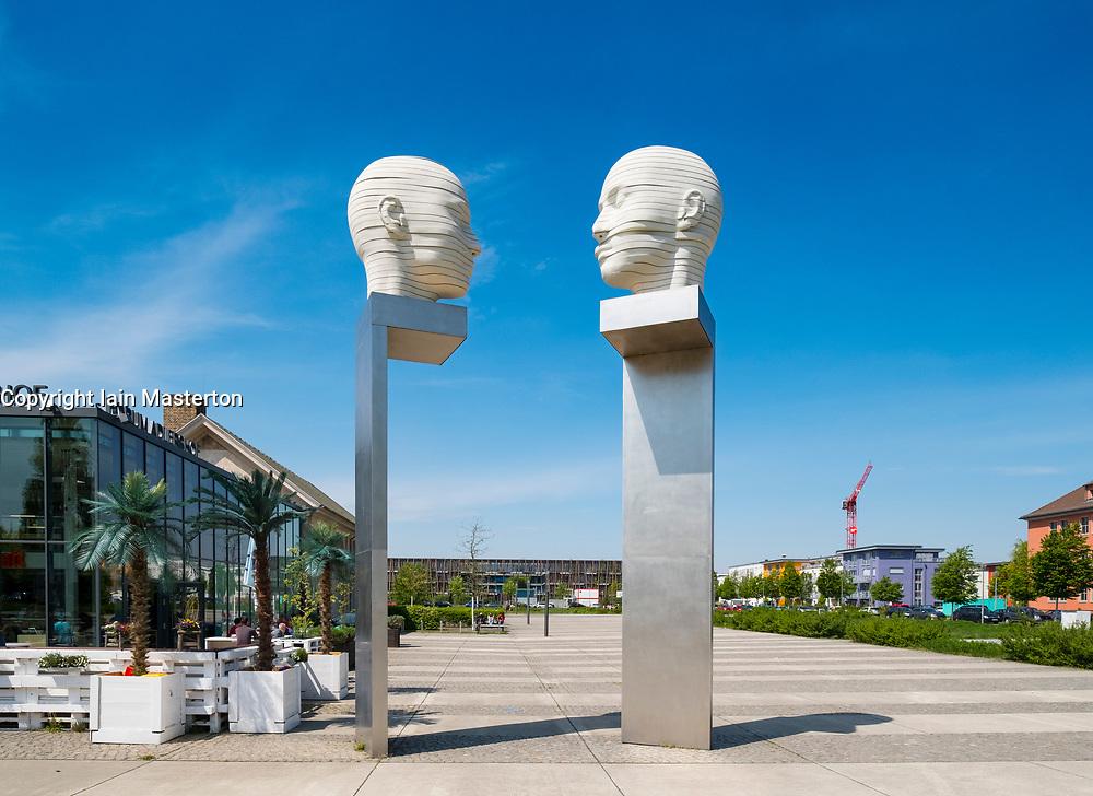 Sculpure 'Kopfbewegung heads shifting', by Josefine Gunschel and Margund Smolka at Adlershof Science and Technology Park  Park in Berlin, Germany