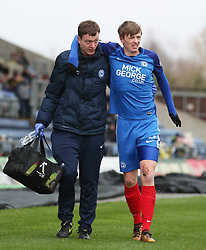 Chris Forrester of Peterborough United leaves the pitch injured after getting a nasty cut to his knee - Mandatory by-line: Joe Dent/JMP - 17/03/2018 - FOOTBALL - Kassam Stadium - Oxford, England - Oxford United v Peterborough United - Sky Bet League One