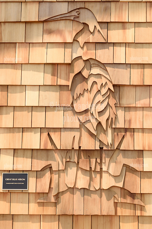 Great Blue Heron Shingle Design Detail. New Meigs Point Nature Center at Hammonasset Beach State Park. A Connecticut State Project No: BI-T-601 | Northeast Collaborative Architects  Contractor: Secondino & Son
