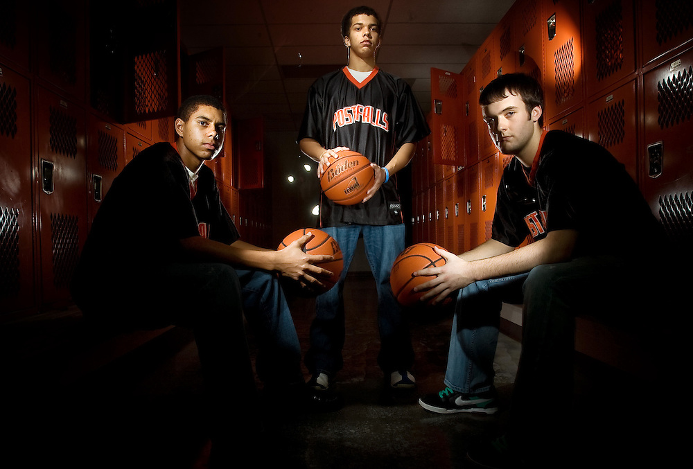 JEROME A. POLLOS/Press..Shawn Reid, left, Malcolm Colbert and Jeremy Cragin are the sophmore leaders of the Post Falls High basketball team.