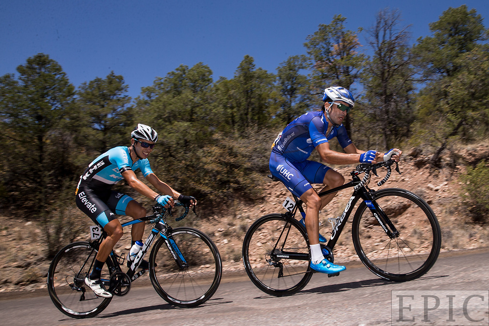 SILVERY CITY, NM - APRIL 18: Janier Acevedo (UnitedHealthcare Pro Cycling) and Eder Frayre Moctezuma (Elevate-KHS Pro Cycling) in the final kilometer of stage 1 of the Tour of The Gila on April 18, 2018 in Silver City, New Mexico. (Photo by Jonathan Devich/Epicimages.us)