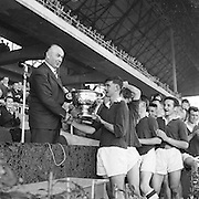 Winning team receiving cup at the All Ireland Minor Gaelic Football Final Cork v. Mayo in Croke Park on the 24th September 1961.