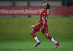 KIRKBY, ENGLAND - Saturday, August 10, 2019: Liverpool's Elijah Dixon-Bonner reacts during the Under-23 FA Premier League 2 Division 1 match between Liverpool FC and Tottenham Hotspur FC at the Academy. (Pic by David Rawcliffe/Propaganda)