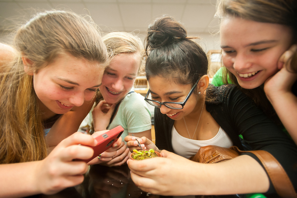 Young women fascinated with a Venus flytrap, an insect eating plant in College Park, Maryland. The woman on the left is taking a photo with her smart phone.