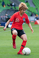 MELBOURNE, VIC - MARCH 06: Minji Yeo (20) of Korea Republic controls the ball during The Cup of Nations womens soccer match between New Zealand and Korea Republic on March 06, 2019 at AAMI Park, VIC. (Photo by Speed Media/Icon Sportswire)