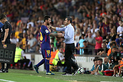 August 7, 2017 - Barcelona, Spain - Head coach Ernesto Valverde of FC Barcelona congratulates Lionel Messi as walks off after being substituted during the 2017 Joan Gamper Trophy football match between FC Barcelona and Chapecoense on August 7, 2017 at Camp Nou stadium in Barcelona, Spain. (Credit Image: © Manuel Blondeau via ZUMA Wire)
