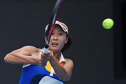 BEIJING, Oct. 4, 2017  Peng Shuai of China returns the ball during the women's singles second round match against Monica Niculescu of Romania at 2017 China Open tennis tournament in Beijing, capital of China, Oct. 4, 2017. Peng Shuai won 2-0. (Credit Image: © Ju Huanzong/Xinhua via ZUMA Wire)