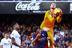 December 23, 2018 - Valencia, Spain - Norberto Neto of Valencia CF  blocks the ball  during  spanish La Liga match between Valencia CF vs SD Hueca at Mestalla Stadium on December 23, 2018. (Photo by Jose Miguel Fernandez/NurPhoto) (Credit Image: © Jose Miguel Fernandez/NurPhoto via ZUMA Press)