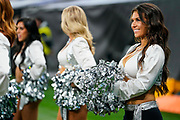 Oakland Raiders Cheerleaders the Raiderettes perform during the International Series match between Oakland Raiders and Chicago Bears at Tottenham Hotspur Stadium, London, United Kingdom on 6 October 2019.