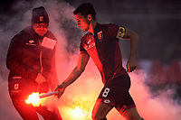 Nicolas Burdisso Genoa. Smoke Bombs on the pitch launched by Genoa supporters <br /> Genova 05-01-2016 Stadio Marassi. Football Calcio Serie A 2015/2016 Genoa - Sampdoria / foto Image Sport/Insidefoto