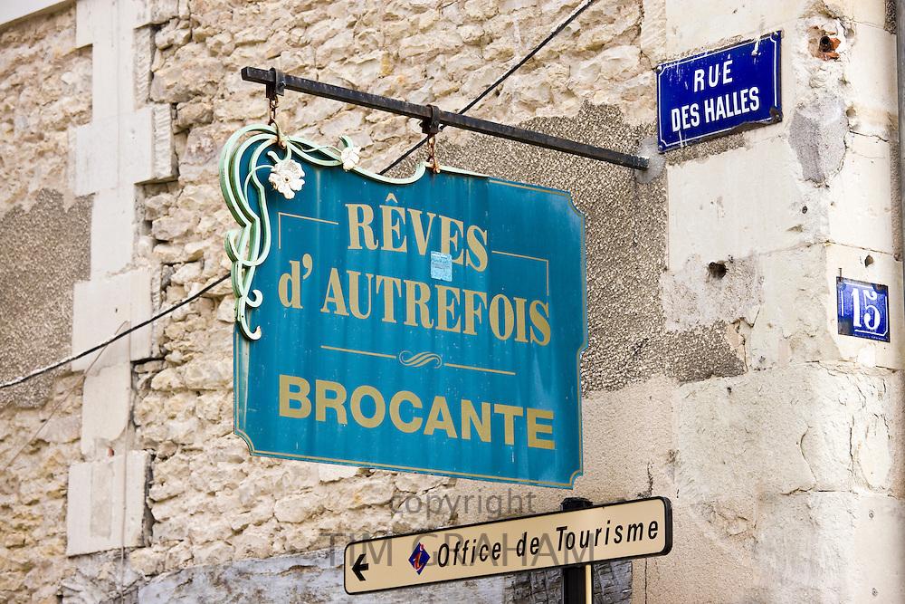 Antique shop sign, Brocante, in Rue Des Halles in town of Richelieu in Loire Valley, Indre et Loire, France