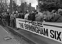 The Birmingham Six Comittee and meeting outside the British Embassy in Ballsbridge, Dublin, 13/02/1988 (Part of the Independent Newspapers Ireland/NLI Collection).