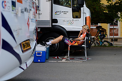 As others warm up it's a long wait for Romy Kasper and her Boesl Dolmans teammates to take to the start ramp at Thüringen Rundfarht 2016 - Stage 4 a 19km time trial starting and finishing in Zeulenroda Triebes, Germany on 18th July 2016.