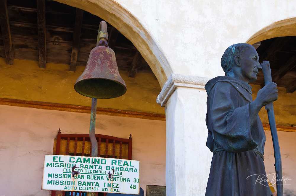 El Camino Real bell and statue of Father Serra, Santa Barbara Mission (Queen of the missions), Santa Barbara, California