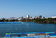 "Rio de Janeiro. BRAZIL.   General View of the course finishing line.2016 Olympic Rowing Regatta. Lagoa Stadium,<br /> Copacabana,  ""Olympic Summer Games""<br /> Rodrigo de Freitas Lagoon, Lagoa. Local Time 15:58:54   Friday  05/08/2016 <br /> <br /> [Mandatory Credit; Peter SPURRIER/Intersport Images]"
