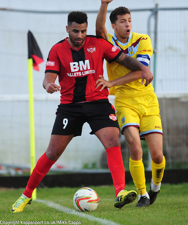 RENE HOWE KETTERING TOWN, BATTLES WITH WEYMOUTHS CALVIN BROOKS, RENE HOWE KETTERING TOWN, Kettering Town v Weymouth, Evostick Southern League Premier, Latimer Park Saturday 22nd October 2016<br /> Score 3-1