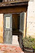Wooden doors at the Harmony Chapel, Harmony, California
