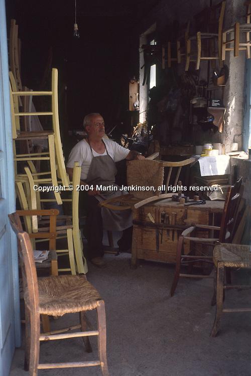 Man making & repairing chairs, Rethymnon Crete Greece...., Travel, lifestyle