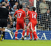 Liverpool team mates Jamie Carragher and Alvaro Arbeloa clash at The Hawthorns, West Bromwich Albion v Liverpool Premier League 17/05/09.
