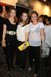 Left to right, VANESSA TEAGUE, KELLY EASTWOOD and NATASHA CORRETT at the launch of 'Glenmorangie 5 Senses' an exhibition of photographs by Mike Figgis held at Proud Camden, Stables Market, London NW1 on 13th May 2008.<br />