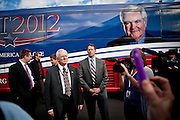 Members of GOP presidential candidate Newt Gingrich security detail watch the crowd at a campaign event at Great Basin Brewing Company in Reno, Nevada, February 1, 2012.