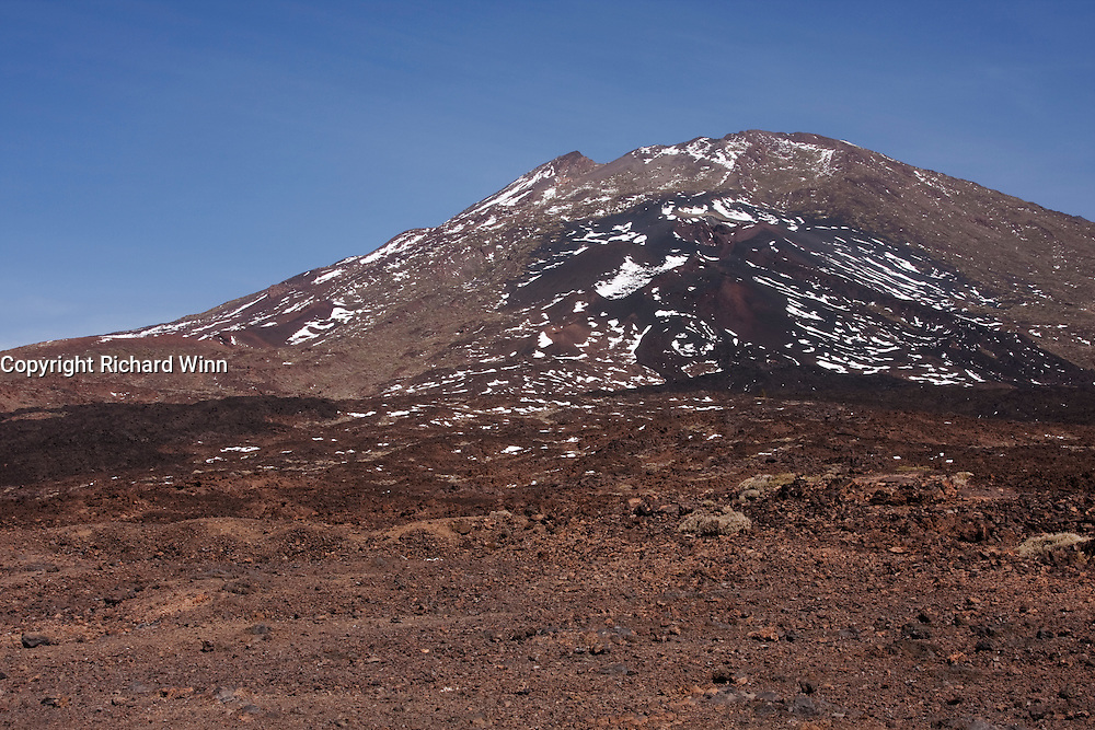 View of Pico Viejo, the last of the volcanoes to erupt within the Teide National Park, but not the site of the most recent 1909 eruption in Tenerife.