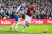 Leondro Trossard (Brighton) in pursuit of Ezri Konsa (Aston Villa) during the Premier League match between Brighton and Hove Albion and Aston Villa at the American Express Community Stadium, Brighton and Hove, England on 18 January 2020.